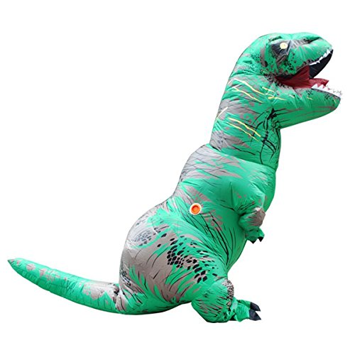 Self Made Halloween Costumes For Men (Davidamy'sGift Inflatable T-rex Dinosaur Halloween Suit Cosplay Fantasy Costume Adults (Green))