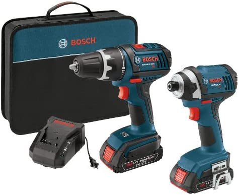 Bosch CLPK234-181 18-Volt Lithium-Ion 2-Tool Combo Kit with 1 2-Inch Compact Tough Drill Driver, Impact Driver, 2 High Capacity Batteries, Charger and Case