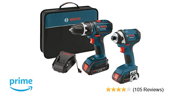 Bosch CLPK234-181 18-Volt Lithium-Ion 2-Tool Combo Kit with 1/2-Inch  Compact Tough Drill/Driver, Impact Driver, 2 High Capacity Batteries,  Charger and