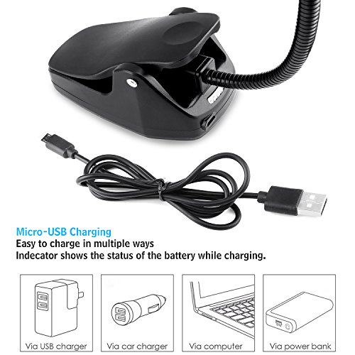 CeSunlight Clip on Reading Light, Rechargeable Battery Operated Book Light, Portable Music Stand Lights, LED Desk Lamp with Good Eye Protection Brightness by CeSunlight (Image #3)