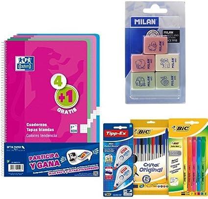Oxford 400072719 - Pack de 5 Cuadernos + Milan BMM9222 - Pack de 5 gomas + BIC 942147 - Estuche con 10 bolígrafos, 5 marcadores y 2 correctores: Amazon.es: Oficina y papelería