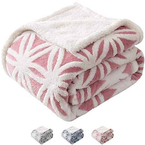 KAWAHOME Sherpa Fleece Throw Blanket Plush Jacquard Snowflake Pattern Soft Thick Blanket for Couch Sofa Bed 51 X 63 Inches Light - Pink Snap Pattern