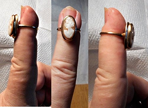 (1 GOLD CAMEO Ring Marked 10K Shell Cameo Ring, Hand Carved Shell Cameo Vintage Ring, Size 5 Only $264.00 OOAK)