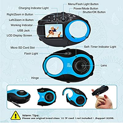 Kids Camera Cute Camera 12MP 4נDigital Zoom Digital Camera with Video, Mini Kids Camera with Photo Frame for Girls and Boys, (Blue & 16G Card)…: Camera & Photo