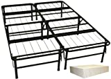 DuraBed Steel Foundation & Frame-in-One Mattress Support System Foldable Bed Frame with Decorative Bed Skirt, Full, Ivory