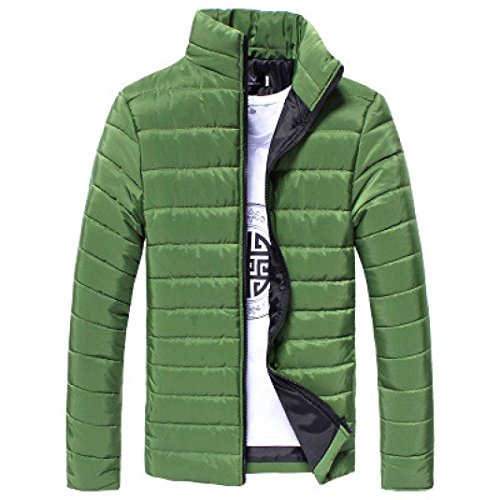 Men Cotton Coat Among Stand Collar Jacket Solid Zipper Warm Winter Thick Blouse (M, Green)