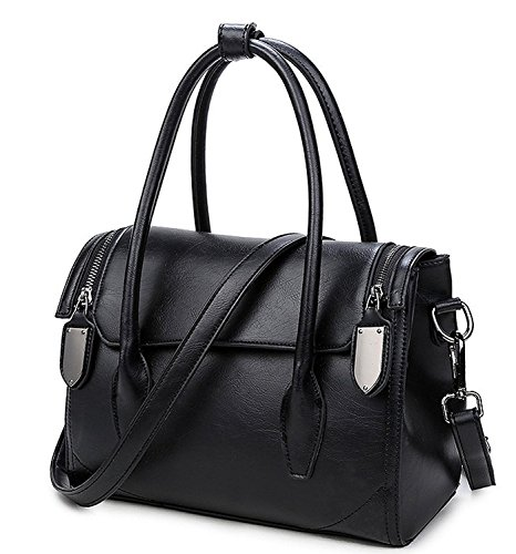 Mn&Sue Glamorous Women Black Pu Leather Doctor Style Boston Top Handle Handbag Shoulder Purse Barrel Bag