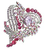 3.15'' Love Heart Brooch Pin Pendant Rhinestone Crystal BZ5652 (Silver-Tone Pink)