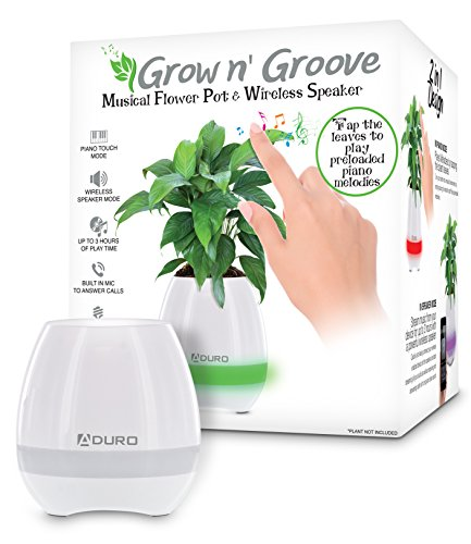 Aduro Bluetooth Plant Pot Speaker, Rechargeable Smart Music Flowerpot LED Night Light with 6 Soft Colors Magic Bluetooth Flower Pot Speaker with Leaves Touch Music Plant Lamp ()