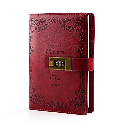 CC-US PU Leather Notebook with Combination Lock Pen Holder Diary Journal Sketchbook Notepad Planner,B6 Size(112Sheets/224 Pages) (Leather Journal Lock)