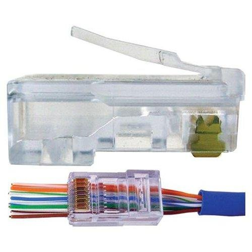 UbiGear 100 Pcs Pass Through CAT5e RJ45 Network Cable Modular Plug 8P8C Connector End ()