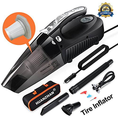 Car Vacuum Cleaner,H-Zonealph DC 12V 106W 5000 Pa Wet/Dry Car Vacuum Cleaner High Power,4 in 1 Handheld Vacuum--Portable Vacuum With Tire Inflator,Tire Pressure Gauge ,Floodlight - Upgraded(Black)