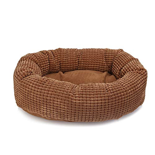 - Pet Bed, Soft Washable Basket Bed Cushion with Fleece Lining for Dogs (5050cm) (Color : Brown)