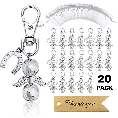 iZoeL 20 Angel Favor Lucky Horseshoe Keychains Plus Organza Bags Plus Thank You Kraft Tags, Guest Favors for Baby Shower, Bridal Shower, Wedding, Party Favors, Graduation(Silvery)