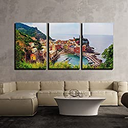 "wall26 - 3 Piece Canvas Wall Art - Vernazza in Cinque Terre, Italy, View from Mountain Trekking Path - Modern Home Decor Stretched and Framed Ready to Hang - 24""x36""x3 Panels"