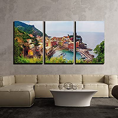 Vernazza in Cinque Terre Italy - Canvas Art Wall Decor-16 x24 x3 Panels