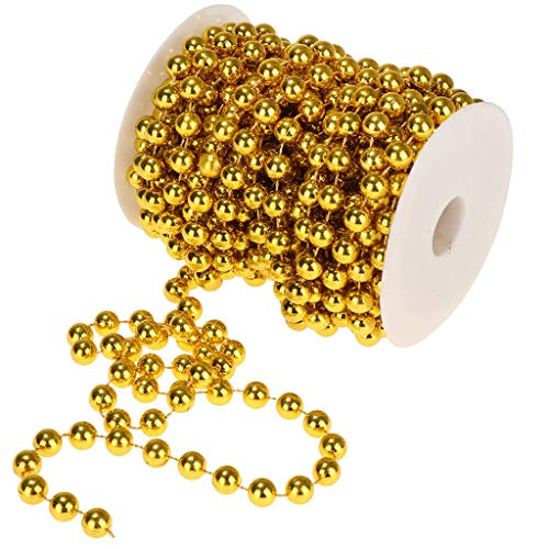 10mm Pearls Strands Garland Spool Beads Craft Wedding Party Decoration |Color - Gold|
