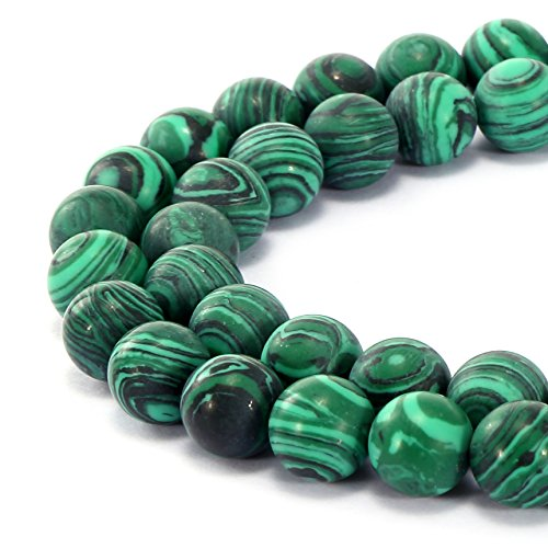 BRCbeads Gorgeous Synthetic Malachite Gemstone Smooth Matte Round Loose Beads 8mm Approxi 15.5 inch 45pcs 1 Strand per Bag for Jewelry Making
