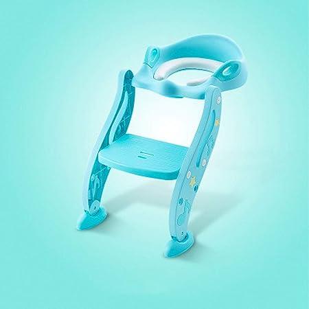 LMRTT-PU Aseo Escalera Asiento para IR al baño Inodoro para Asientos para Entrenadores Taburetes Niño Plegable Antideslizante Productos para niños Asistente Escalera Ajustable(Azul): Amazon.es: Hogar