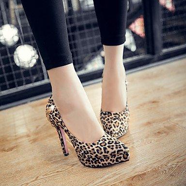 Talones de las mujeres Zapatos Primavera Verano Otoño Invierno club de cuero para oficina y del partido de la carrera y del vestido de noche del tacón de aguja RhinestoneYellow rosa Pink