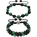 3Carat Handmade Malachite Couple Beaded Bracelets - Adjustable Double Layer Braided Bracelet with Stainless Steel for Women and Man 2 Set