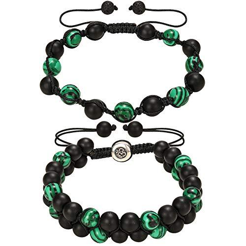 3Carat Handmade Malachite Couple Beaded Bracelets - Adjustable Lucky Charm Yoga Double Layer Onyx Braided Bracelet for Women and Man 2 Set