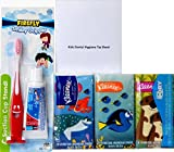Crest Kids Sparkle Fun Fluoride Toothpaste, FireFly Smiley Gripper Suction Cup Toothbrush Dental Travel Kit, Dory Kleenex Facial Tissues for Kids