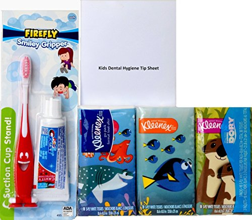 Crest Kids Sparkle Fun Fluoride Toothpaste, FireFly Smiley Gripper Suction Cup Toothbrush Dental Travel Kit, Finding Dory Kleenex Facial Tissues for Kids