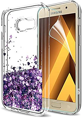 pretty nice 166d4 4e5d4 LeYi Case for Samsung A3 2017 with HD Screen Protector, Girl Women 3D  Glitter Liquid Moving Cute Personalised Clear Transparent Silicone Gel TPU  ...