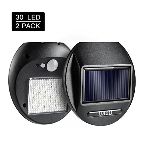 Black Patio Brick - MIUO Solar Light Outdoor 2 Pack Solar Motion Sensor Light 30 LED 300lm Wireless Waterproof Solar Security Light Outdoor for Porch Patio Brick Wall Backyard Farm Garage
