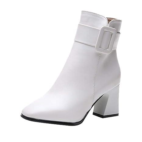 Logobeing Zapatos Mujer Tacones Altos Botines Mujer Tacon Botas de Mujer Casual Plataforma Moda Botas de