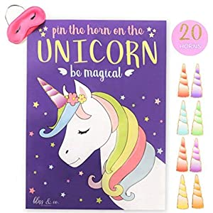 "bliss & co. ""Pin the Horn on the Unicorn"" Party Game, Large 21 x 28 Poster, 20 Stickers, Games, Supplies, and Decorations"