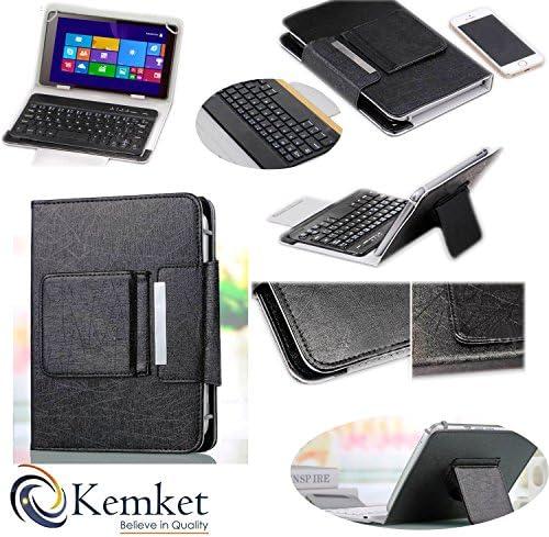 Funda de teclado bluetooth, de piel para tablet de 7 pulgadas con teclado Bluetooth desmontable