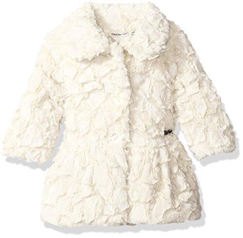 Calvin Klein Girls' Baby Faux Fur Jacket, Cream,
