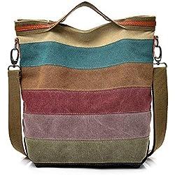 Women's Stripe Crossbody,Clearance!AgrinTo Casual Canvas Splice Shoulder Bag Handbag Totes