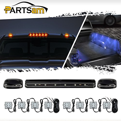 Partsam 3PCS 12LED Amber Cab Marker Top Clearance Roof Running Light + 8Pods 48LED Blue Truck Bed Lighting Kit Rear Tail Light Universal Waterproof for 2007-2014 Chevy Silverado GMC Sierra Car Truck