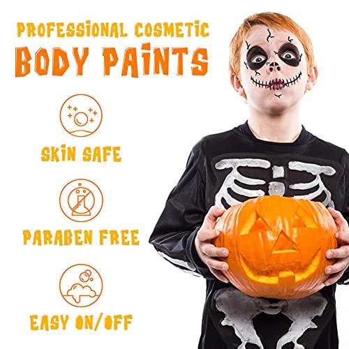 Koogel Face Painting Kits, 12 Colors Halloween Face Makeup 6 Pcs Face Painting Stencil Halloween Party Artist Fancy Makeup Painting Kit for Kids