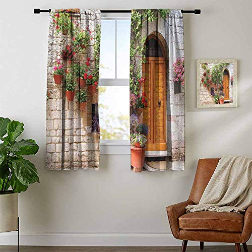 (Mozenou Tuscan, Window Curtain Fabric, Begonia Blossoms in Box Window Wooden Shutters Brick Wall Romagna Italy, Curtains Kids, W84 x L72 Inch Orange White Green )