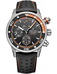 Pontos S Extreme Diver Chronograph Mens Watches - 43mm Black Dial Black Leather Band Swiss Automatic Dive Watch For Men PT6028-ALB31-331-1