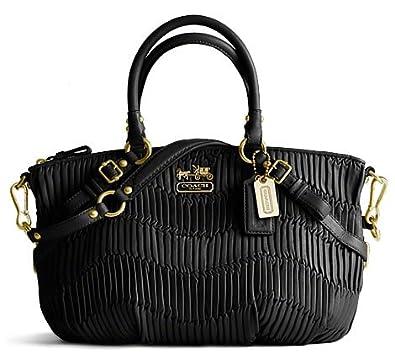 29288762 Amazon.com: Coach Madison Sophia Black Gathered Leather Satchel ...