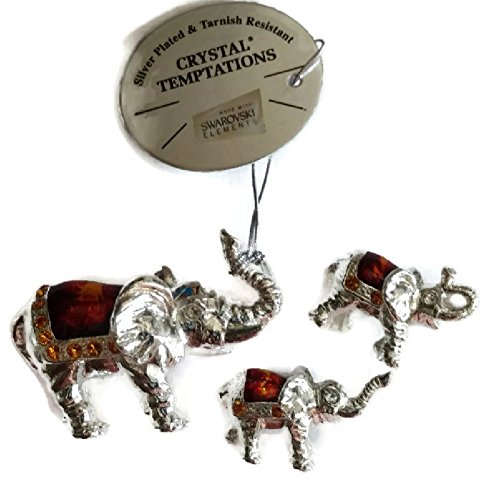 Crystal Temptations Silver Plated Pewter 3 piece Elephant Family Figurine with Swarovski elements ()
