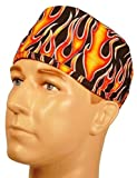 Hot Rod Orange Yellow Flame Sweatband Scrub Cap Medical Dental Doctor Vet Nurse