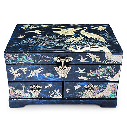 Hand Made Jewelry Box Ring Organizer Mother of Pearl Sea Shell Inlaid 2 Level 2 Drawers Mirror Lid Cranes Design (Blue)