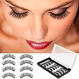 AOFU Magnetic False Eyelashes, 3D Ladies Fiber Reusable Lashes Extension,Long Lasting Natural and Bushy Eye Lash [12 Pcs] (Black)