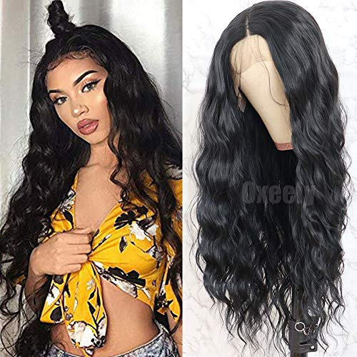 Oxeely Black Long Loose Curly Wave Glueless Lace Front Wigs for Women Heat Resistant Synthetic Lace Front Wigs with Baby Hair Natural Hairline 28 inch ()