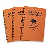 M-Aimee Pack of 3 pcs Orange Tactical Waterproof All-weather /Shower /Aqua Notes /Pocket Notebook /Notepad (Size: 5 x 7 inches)