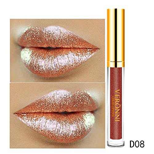 - iTLOTL Valentine's Day present 10 Color Womens Magic Glitter Flip Lipstick Flip Pull Matte Pearl Lip Gloss Clu