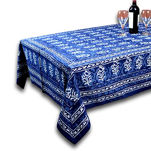 Homestead Hand made Dabu Block Print 100% Cotton Tablecloth 60x90 Rectangular Astonishing
