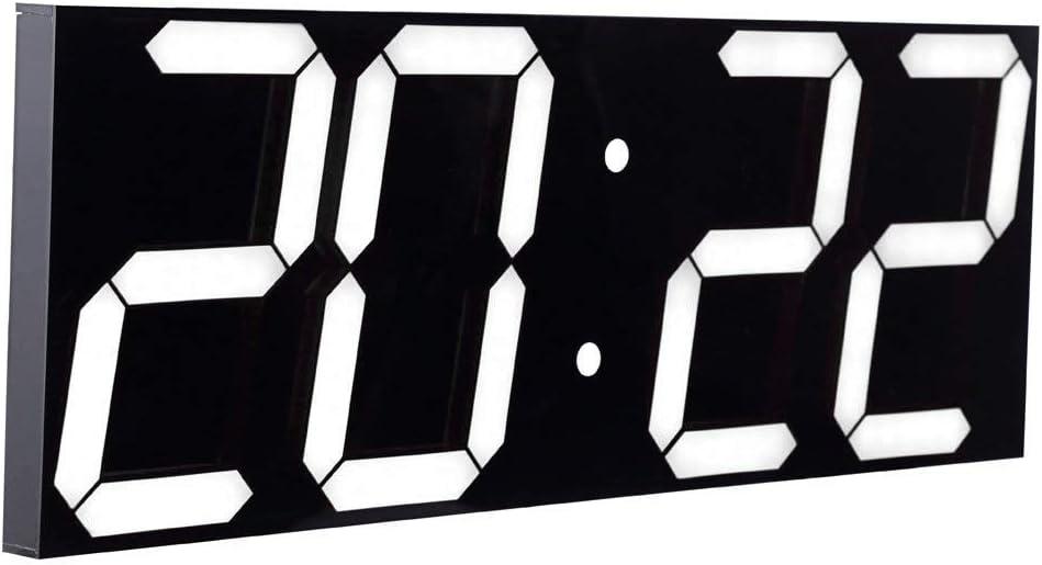 CHKOSDA Reloj de Pared con función de Cuenta atrás, Pantalla LCD Digital de 6 Pulgadas, Ajuste automático de Brillo, Mando a Distancia, Calendario Grande para el hogar, Dormitorio, Oficina (Blanco)