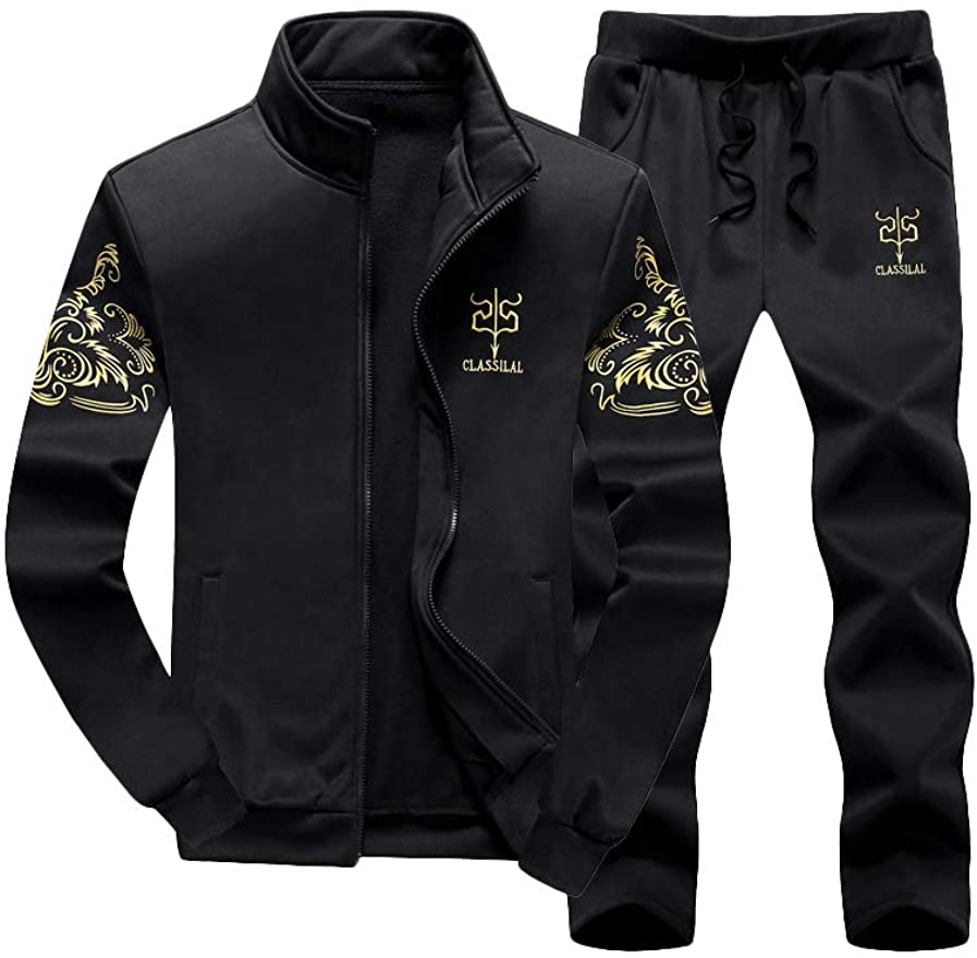 Hakjay Mens Hiphop Dance Jogger Casual Tracksuit Set Long Sleeve Full-Zip Running Jogging Athletic Sweat Suits